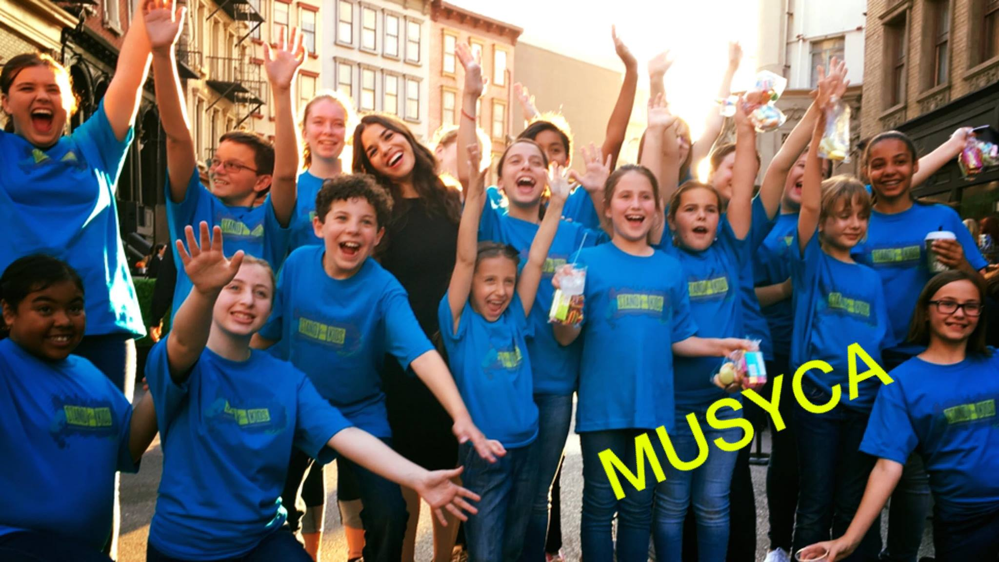 MUSYCA singers with America Ferrera 20th Century Fox