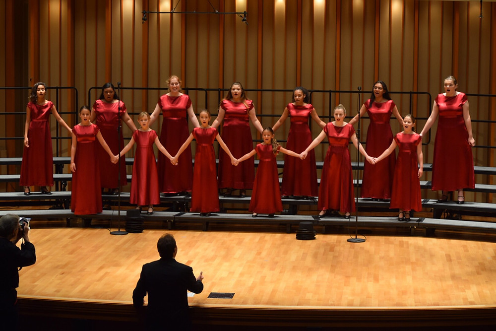 MUSYCA Youth Chorus on stage at Zipper Hall, for the International Music Festival