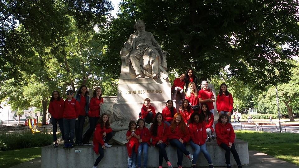 MUSYCA Kids' Choir at the Johannes Brahms memorial in Vienna, Austira