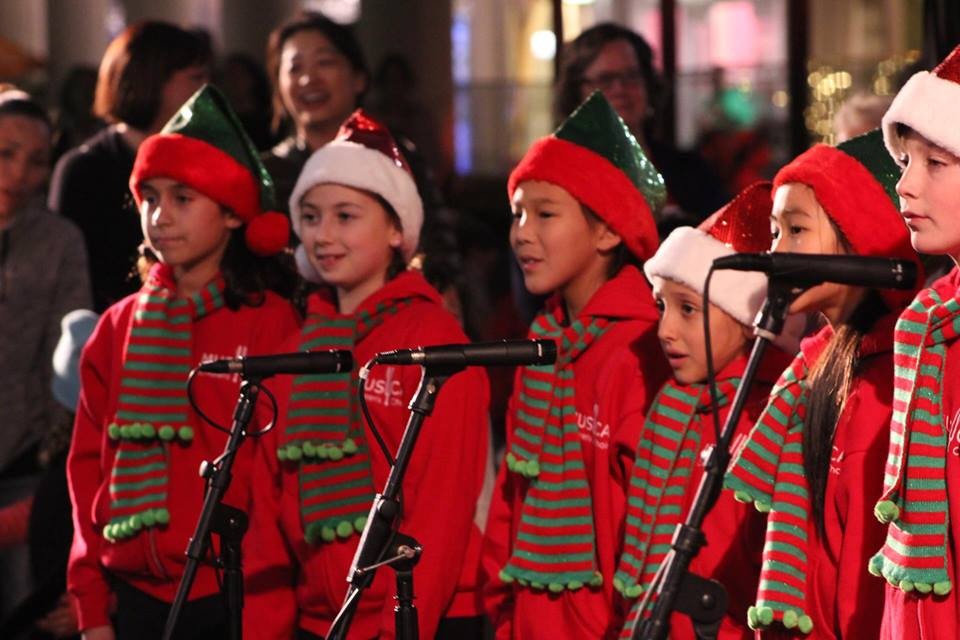 MUSYCA Children's Choir caroling in the village