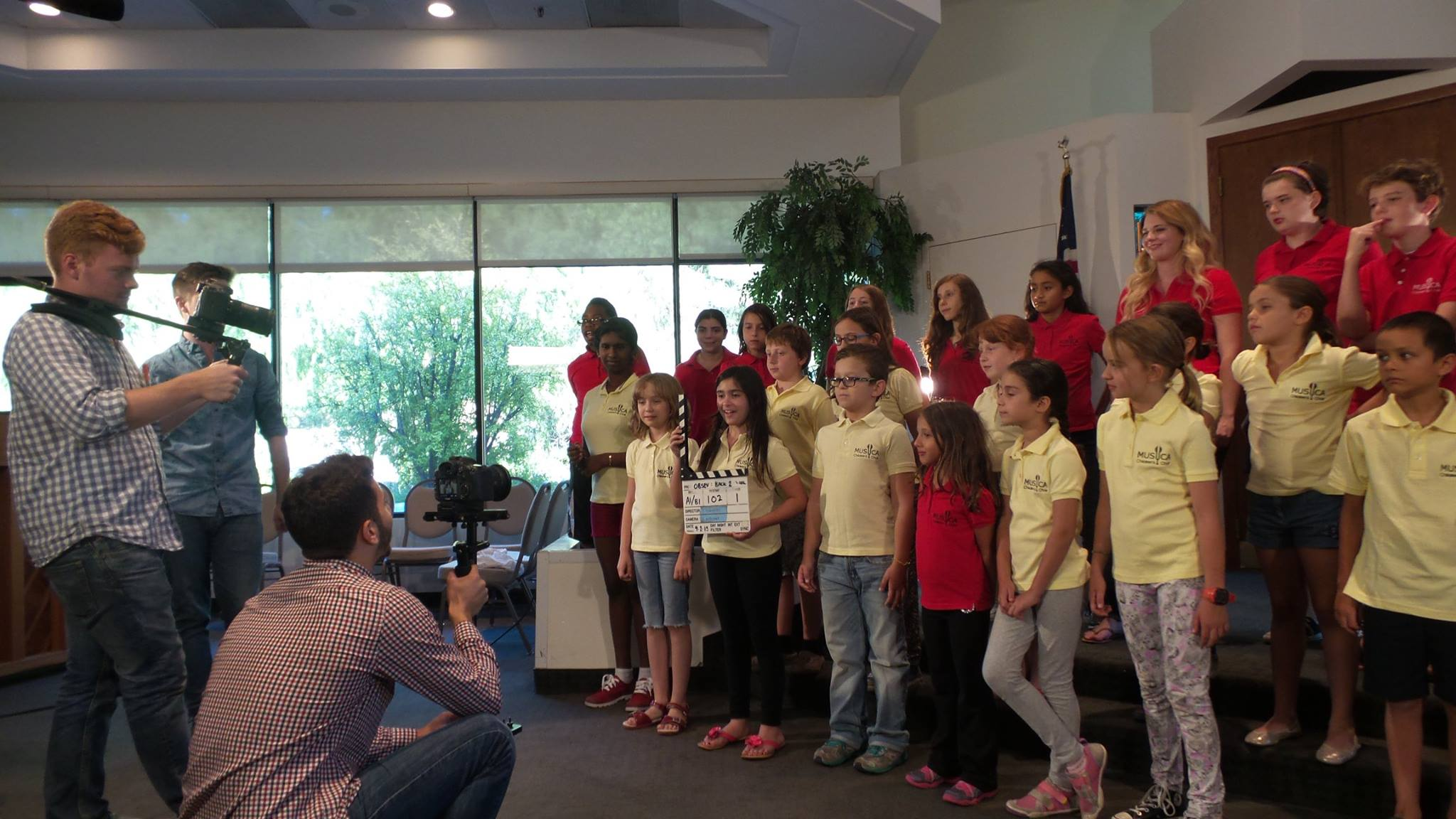 The Childrens Choir filming a video