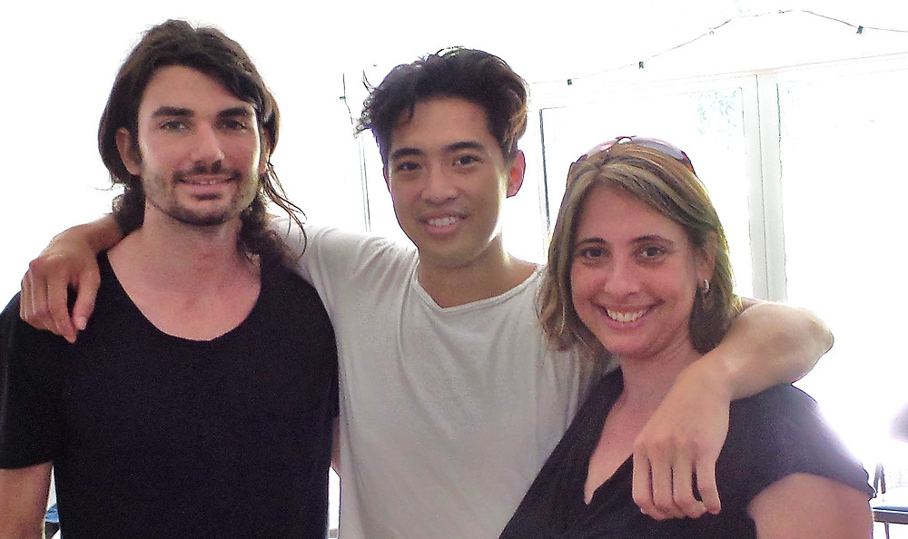 Dr. Anna Krendel with producer Nathan Lim and artist Stephen.