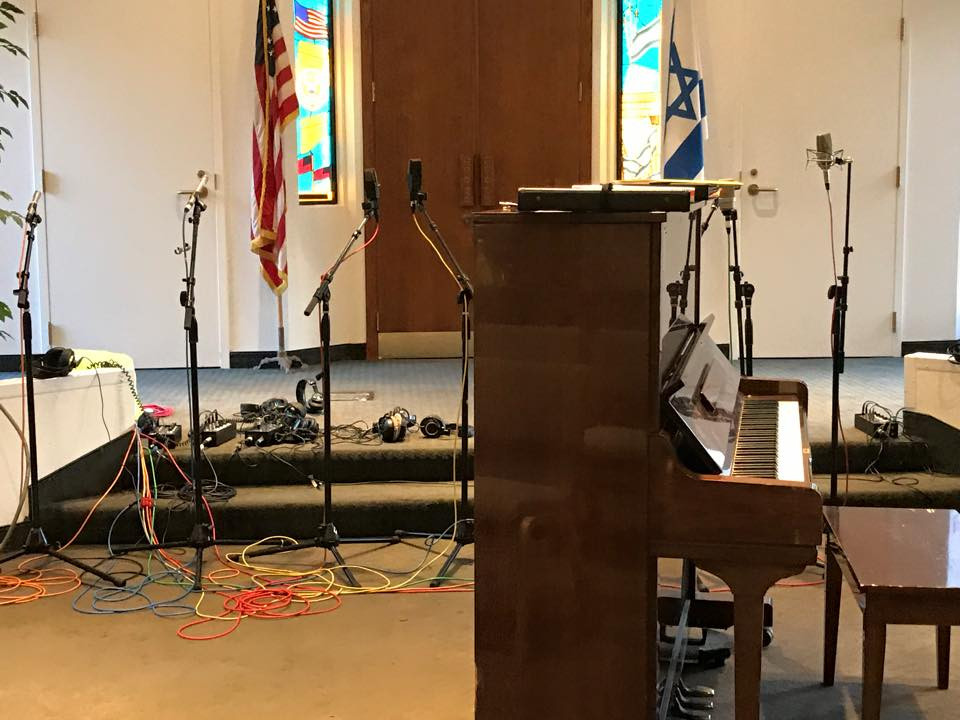 The recording equipment is set for MUSYCA Choir vocal session.
