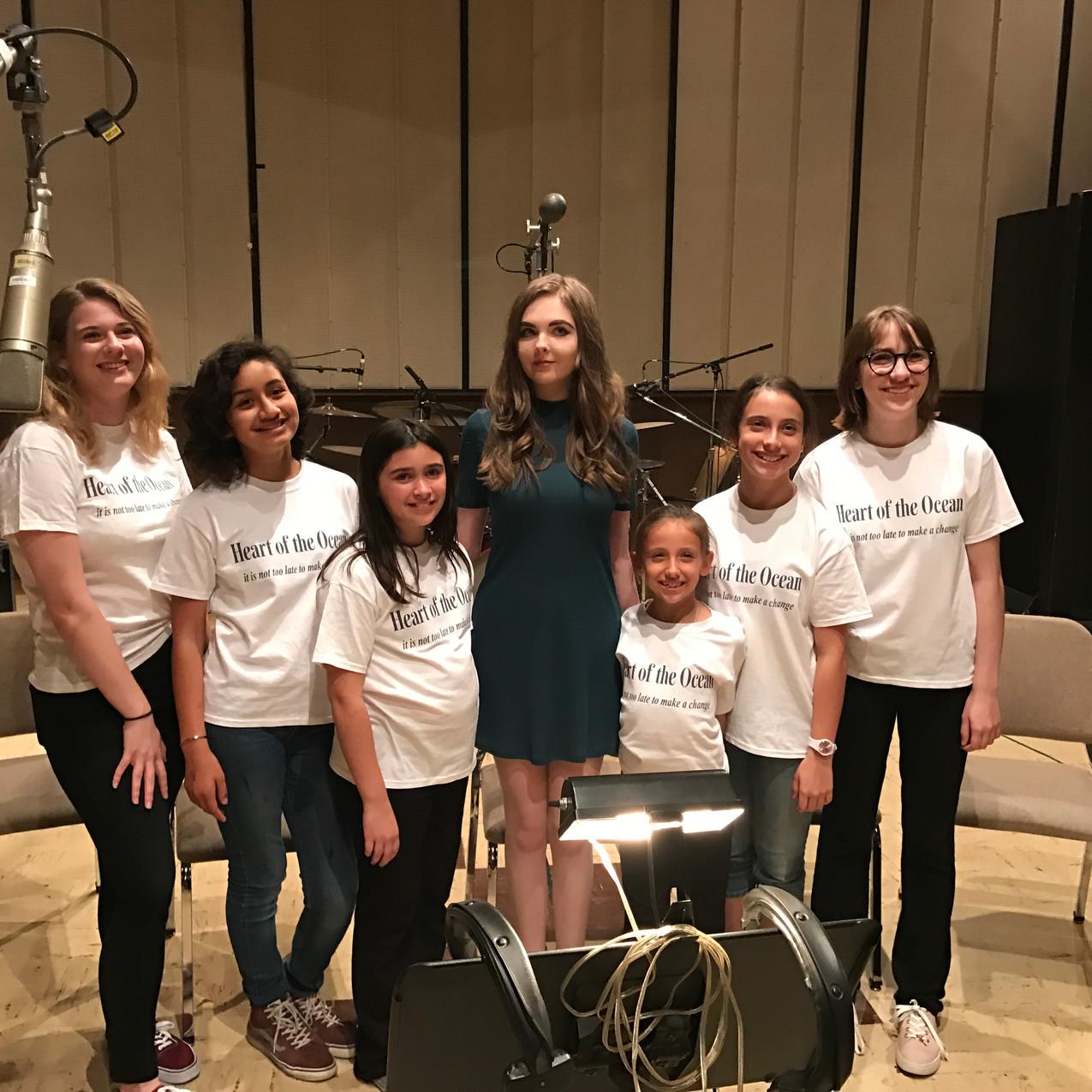 The kids' Choir in recording studio