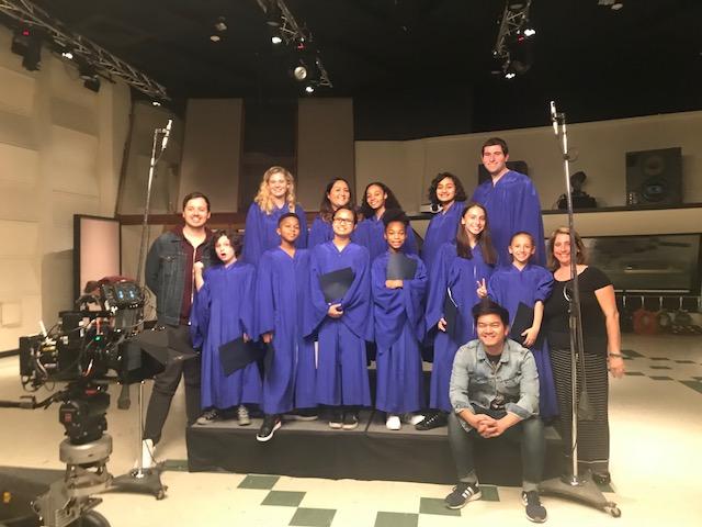 Funny or Die team and MUSYCA Choir at Eastwest studios in Hollywood