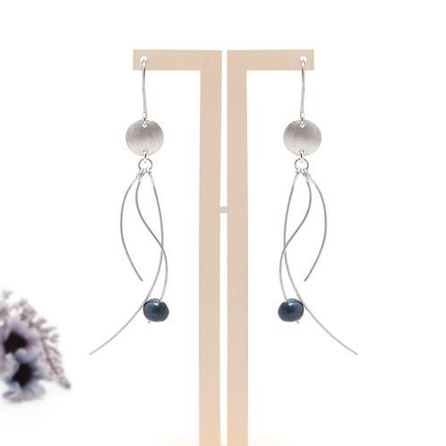 Jellyfish Serisi Mavi İncili Küpe