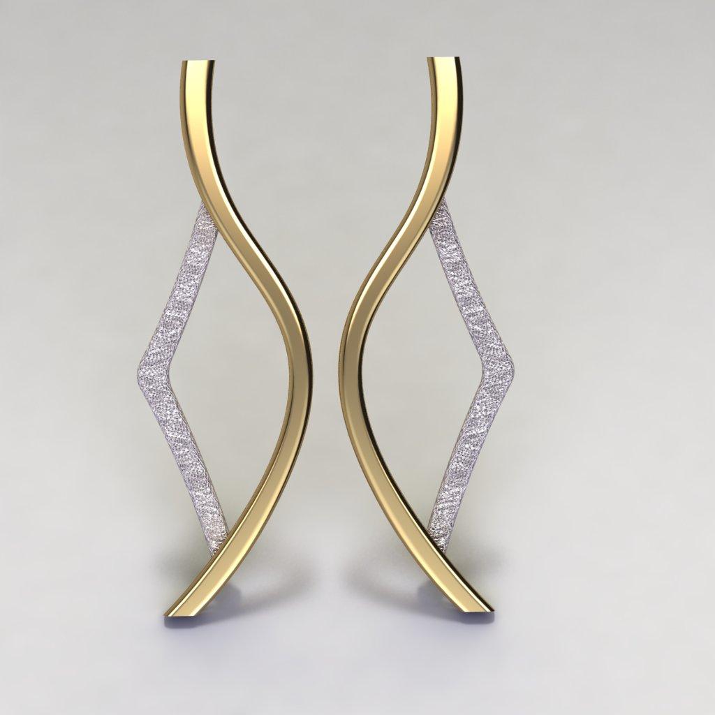 Asimetrik Gümüş Küpe