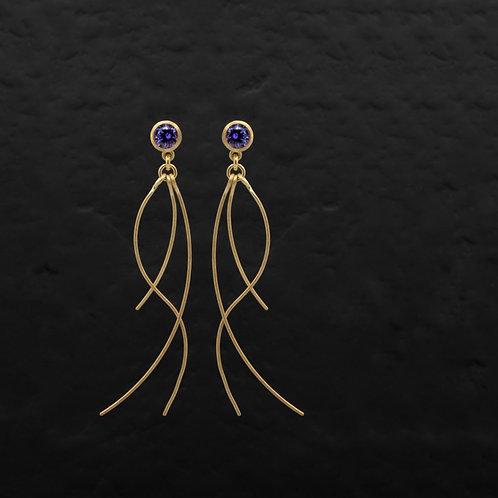 Jellyfish Serisi Ametist Rengi Zirkon Taşlı Gümüş Küpe