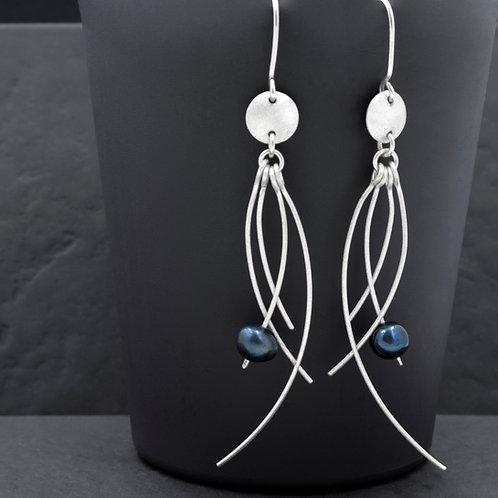 Jellyfish Mavi İncili Gümüş Küpe