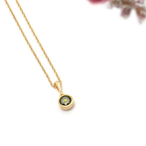 Yeşil Zirkon Taşlı Gümüş Kolye