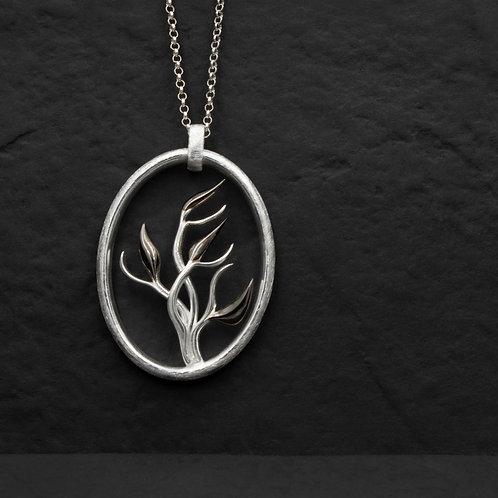Gümüş Kolye - Çalı - Floral Gümüş Kolye