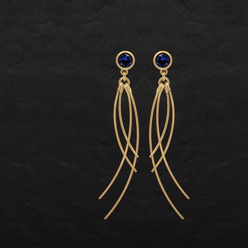 Jellyfish Serisi Mavi Zirkon Taşlı Gümüş Küpe