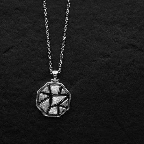 Unisex Gümüş Madalyon - Mozaik Petekli Gümüş Kolye