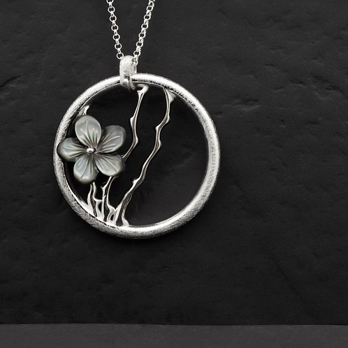 Gümüş Kolye - Orkide Dalları - Çiçek Gümüş Kolye