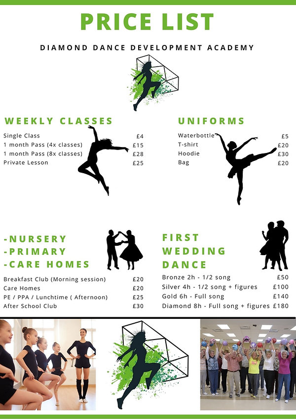 Green and White Salad Collage Price List