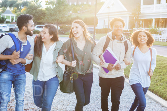 Group of College Friends Walk Outdoors