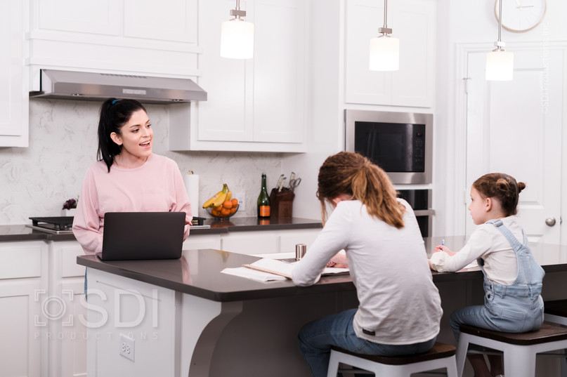 Mom Teaches Daughters From Home