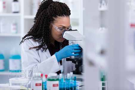 Scientist Looks Intently Into Microscope