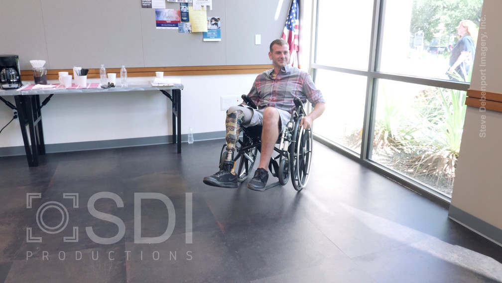 Male Military Veteran Performs Stunts with Wheelchair