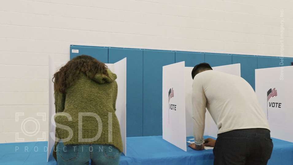 Group of Voters Voting in Polling Place on Election Day