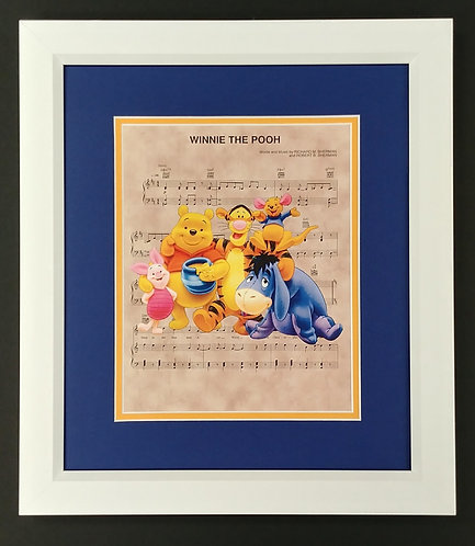 Winnie the Pooh 8x10 Sheet Music Framed Print