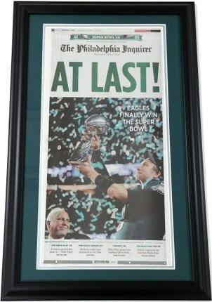 Philadelphia Inquirer Original Framed Commemorative Super Bowl Champs Cover