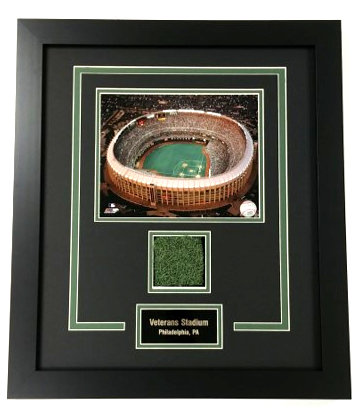 Authentic Veterans Stadium Turf Framed Photo Display