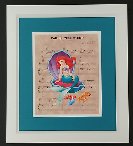"The Little Mermaid ""Part of Your World"" 8x10 Sheet Music Print"