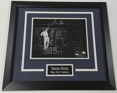 Aaron Hicks Framed Autographed 11x14 Photo Display