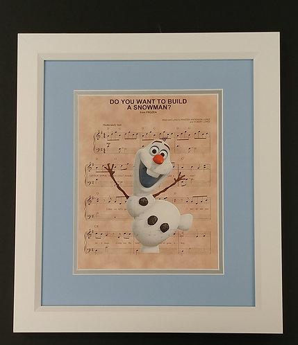 "Frozen ""Do You Want to Build a Snowman"" Framed 8x10 Sheet Music Print"
