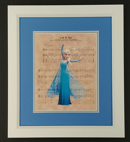 "Frozen ""Let It Go"" 8x10 Sheet Music Framed Print"