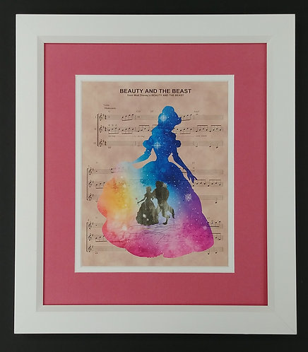 Beauty and the Best Watercolor 8x10 Sheet Music Framed Print