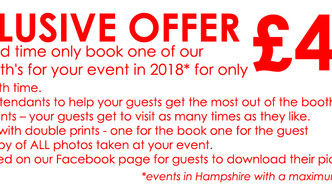 Book Soon and make the most of this Exclusive offer! £449 for events in 2018!!!!!!!!