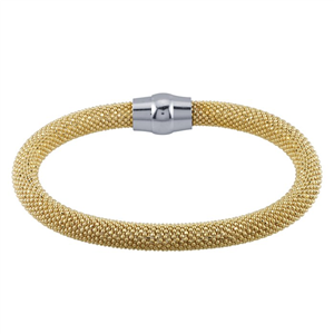Yellow GoldPlated/DiamondCut Bead Bangle Bracelet