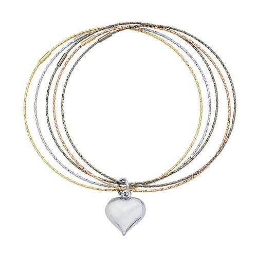Sterling Silverr 5 Strand Bracelet w/Heart Charm