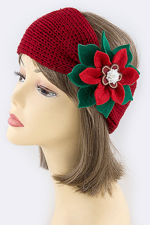 Poinsettia Accent Knitted Headwrap