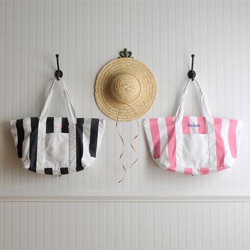 Personalized Candy Stripe Tote Bag