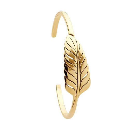 14K Yellow Gold Designer Feather Cuff Bracelet