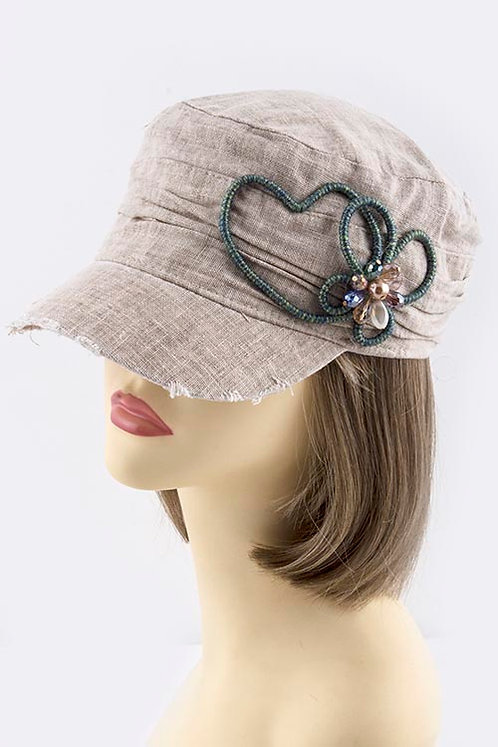 Thread Wrapped Heart Accent Short Brim Cap