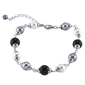 Sterling Silver Bracelet w/Freshwater Pearls/Onyx
