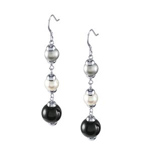 Sterling Silver Earrings w/Freshwater Pearls/Onyx