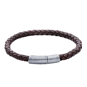 Leather Braided Cord Bracelet with Stainless Steel Magnetic Clasp