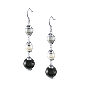Sterling Silver Earrings w/Freshwater Pearls/Onyx