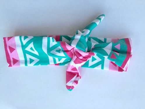Hot Pink & Teal Aztec Knotted Headband