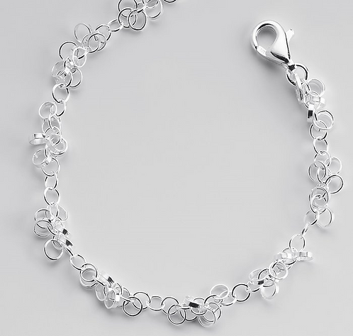 Sterling Silver Alternating Ring Chain Bracelet