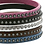 Thumbnail: Flat Leather Bracelet w/ CZs & Silver Clasp