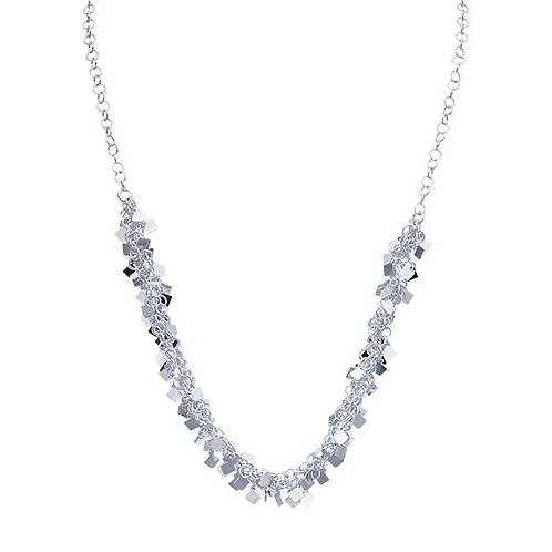 Sterling Silver Ringlet Chain Necklace with Square Drops
