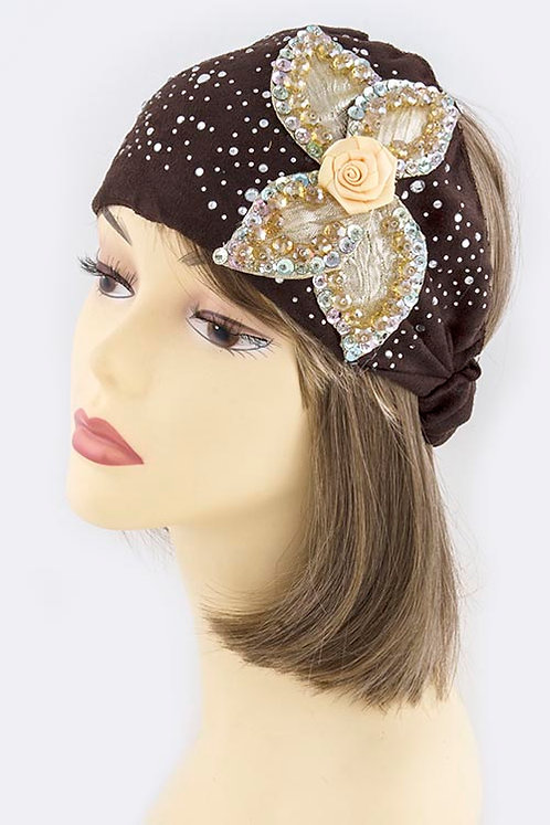 Fall Bow Accent Studded Suede Stretch Headwrap