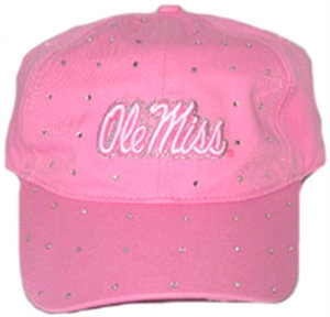 Ole' Miss Rebels Cap For Her - Pink w/Stones