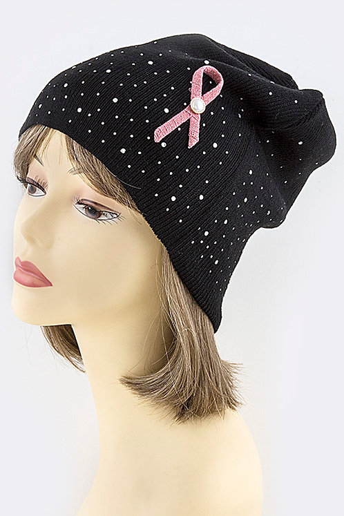 Awareness Bow Accent Crystal Studded Beanie